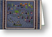 Peoples Greeting Cards - This Hmong Quilt Depicts Villagers Greeting Card by Robert S. Oakes