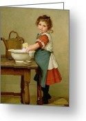 Kid Greeting Cards - This Is the Way We Wash Our Clothes  Greeting Card by George Dunlop Leslie 
