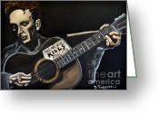Woody Guthrie Greeting Cards - This Machine Kills Fascists Greeting Card by David Fossaceca