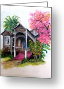 "\\\""haunted House\\\\\\\"" Pastels Greeting Cards - This Old House  Greeting Card by Karin Best"