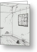 Dilapidated Drawings Greeting Cards - This or that Greeting Card by Rod De Hoedt
