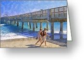 Sandals Greeting Cards - This Side of Paradise Greeting Card by Debra and Dave Vanderlaan