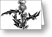 Linoleum Greeting Cards - Thistle, Lino Print Greeting Card by Gary Hincks