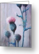 Purples Mixed Media Greeting Cards - Thistles In The Mist Greeting Card by Phyllis Dunn