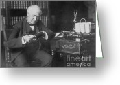 Thomas Edison Greeting Cards - Thomas Edison, American Inventor Greeting Card by Omikron