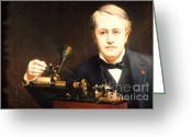 Thomas Edison Greeting Cards - Thomas Edison, American Inventor Greeting Card by Photo Researchers