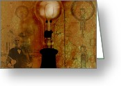 Light Bulb Mixed Media Greeting Cards - Thomas Edison Greeting Card by Chris Bradley