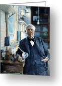 Filament Greeting Cards - Thomas Edison Greeting Card by Granger