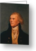 Founding Fathers Painting Greeting Cards - Thomas Jefferson Greeting Card by War Is Hell Store