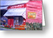 Rural Art Greeting Cards - Thomas Market Greeting Card by Lynne Reichhart