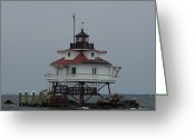 Signal Photo Greeting Cards - Thomas Point Shoal Lighthouse Greeting Card by Paul Sutherland