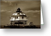 Lighthouse Artwork Greeting Cards - Thomas Point Shoal Lighthouse Sepia Greeting Card by Skip Willits