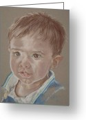 Little Boy Pastels Greeting Cards - Thomas Greeting Card by Sandra Valentini