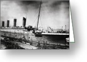 Old Photo Greeting Cards - Thompson Drydock - Titanic Greeting Card by Chris Cardwell