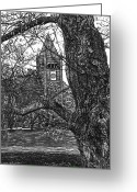 Clock Drawings Greeting Cards - Thompson Hall at UNH Greeting Card by Robert Goudreau