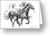 Horserace Greeting Cards - Thoroughbred Best Pal Greeting Card by Arline Wagner