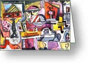 Musical Art Greeting Cards - Those Crazy Musicians Greeting Card by Mindy Newman