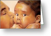 Pastels Pastels Greeting Cards - Those Eyes Greeting Card by Curtis James