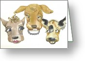 Preppy Greeting Cards - Those girls are dogs. Greeting Card by Donna Acheson-Juillet