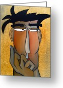 Faces Greeting Cards - Thought Process Greeting Card by Tom Fedro - Fidostudio