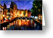Europe Painting Greeting Cards - Thoughtful Amsterdam Greeting Card by Leonid Afremov
