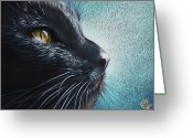 Pet Portrait Drawings Greeting Cards - Thoughtful Cat Greeting Card by Elena Kolotusha