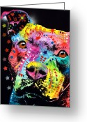 Bull Greeting Cards - Thoughtful Pitbull i heart u Greeting Card by Dean Russo