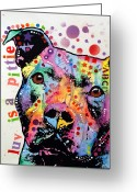 Bull Greeting Cards - Thoughtful Pitbull Luv Is A Pittie Greeting Card by Dean Russo