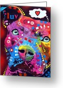 Pitbull Greeting Cards - Thoughtful Pitbull thinks LUV Greeting Card by Dean Russo