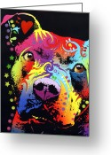 Dean Russo Art Painting Greeting Cards - Thoughtful Pitbull Warrior Heart Greeting Card by Dean Russo