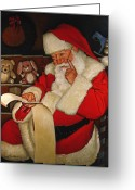 Wreaths Greeting Cards - Thoughtful Santa Greeting Card by Doug Strickland