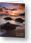 Seafoam Greeting Cards - Three Against the Tide Greeting Card by Mike  Dawson