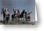 Pointing Greeting Cards - Three American Indians On The Crow Greeting Card by Edwin L. Wisherd