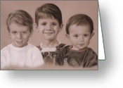 Photorealism Pastels Greeting Cards - Three Amigos Greeting Card by Nanybel Salazar
