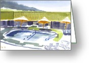 Pilot Knob Greeting Cards - Three Amigos Poolside Greeting Card by Kip DeVore