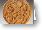 Woodcarving Reliefs Greeting Cards - Three Angels Greeting Card by James Neill