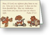 Roller Skates Greeting Cards - Three Animal Characters Ps. 17 v 1-2 Greeting Card by Linda Phelps