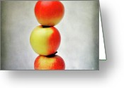 Food And Beverage Digital Art Greeting Cards - Three apples Greeting Card by Bernard Jaubert