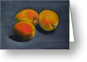 Apricot Painting Greeting Cards - Three Apricots Greeting Card by Sarah Lynch
