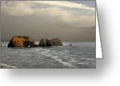 Offshore Greeting Cards - Three Arch Rocks - Oceanside near Cape Meares - Oregon Greeting Card by Christine Till