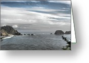 Coastline Greeting Cards - Three Arch Rocks National Wildlife Refuge near Cape Meares Oregon Greeting Card by Christine Till