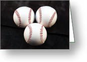Baseball Photographs Greeting Cards - Three Balls Greeting Card by John Rizzuto