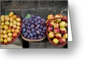 Figs Greeting Cards - Three Baskets Of Colorful Fruit Greeting Card by Todd Gipstein
