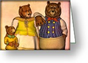 Animal Greeting Cards - Three Bears Family Portrait Greeting Card by Bob Orsillo