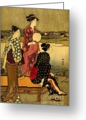 Hair Ornaments Greeting Cards - Three Beauties by the Sumida River 1785 Greeting Card by Padre Art