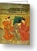 Hair Ornaments Greeting Cards - Three Beauties in the Rain 1788 Greeting Card by Padre Art