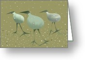 Snow Prints Greeting Cards - Three Birds Greeting Card by Catherine Martha Holmes