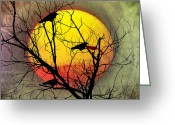 Blackbirds Greeting Cards - Three Blackbirds Greeting Card by Bill Cannon