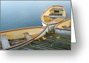Centre Greeting Cards - Three Boats Floating On Pond Beside Pier Greeting Card by Les beautés de la nature / Natural Beauties