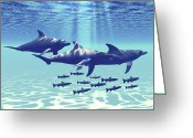 Sea Life Digital Art Greeting Cards - Three Bottlenose Dolphins Swim Greeting Card by Corey Ford
